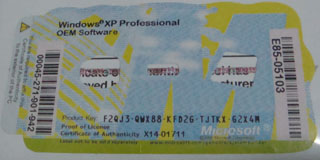 Windows XP Professional COA Key Label Sticker License, X14 ...