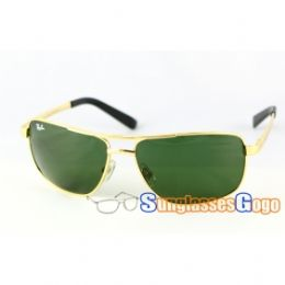 f384470d3a Ray Ban RB 3281 Lifestyle Sunglasses Gold Frame  Green Lens on  sunglassesgogo com