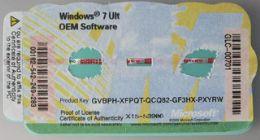 Windows 7 Ult COA Key Label Sticker License, X15, serial ...